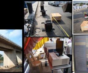 Vibration testing of highway bridge structure