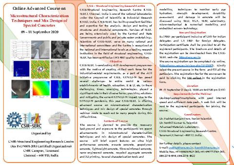 """Online Advanced Course  on """"Microstructural Characterization Techniques and Mix Design of Special Concretes"""" 9 - 11 September 2020"""