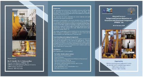 Advanced Course on Fatigue and Fracture Behaviour of Structures and Structural Components (FFBSSC '20) 19-21 February 2020