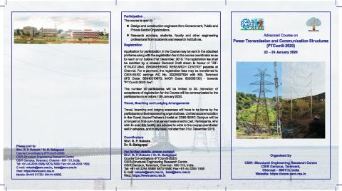 Advanced course on Power Transmission and Communication Structures (PTComS 2020) 22- 24 January 2020