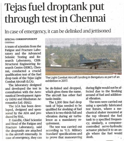 Tejas fuel droptank put through test in chennai