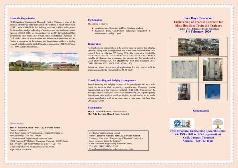 Two Days Course on Engineering of Precast Concrete for Mass Housing: Train the Trainers (3-4 February 2020)